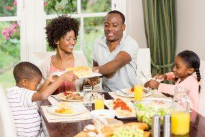 healthy family eating dinner