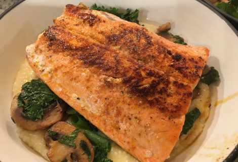 Salmon and Veggies Over Cheesy Grits