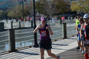Lauren running the Disney Marathon