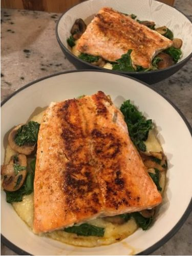 Kristen Ziesmer, Sports Dietitian - Salmon and Veggies Over Cheesy Grits